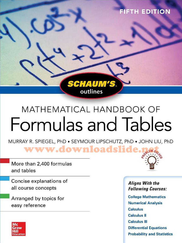 Ebook Schaum's Outlines Mathematical Handbook of Formulas and Tables