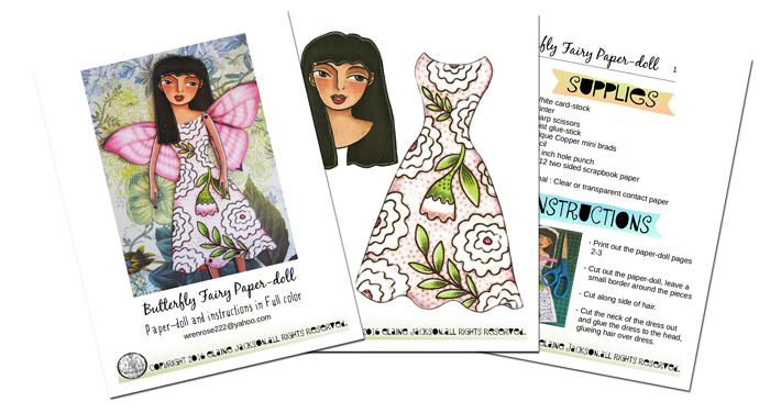 Butterfly fairy Printable paper-doll