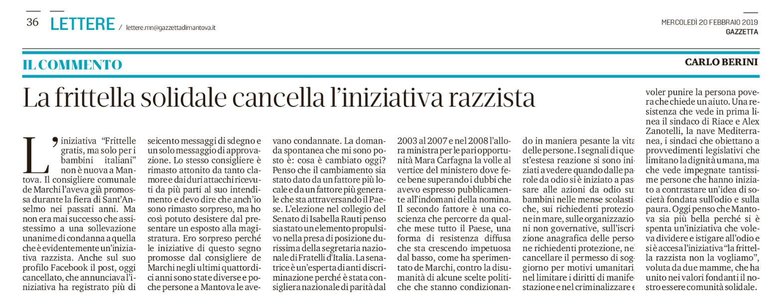 Articolo 3 Osservatorio sulle discriminazioni: Mantova, la frittella ...