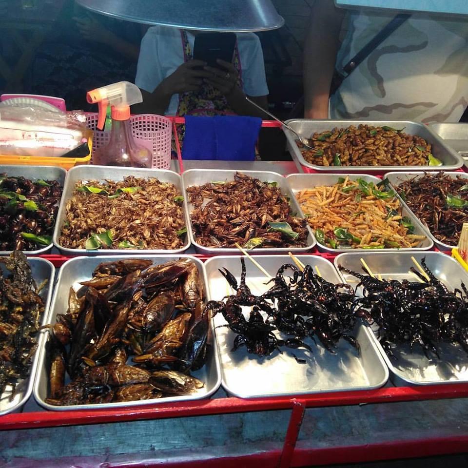 Comidas exóticas na Kaosan Road