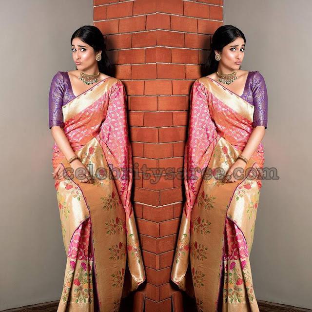 Regina in Baby Pink Benaras Saree