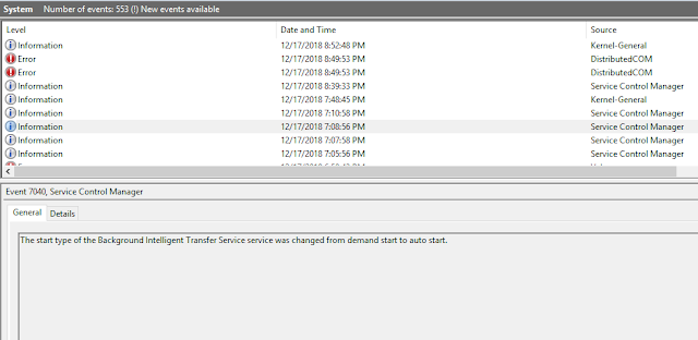 Windows Event Log view