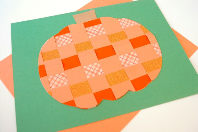 Halloween craft for kids, fine motor paper weaving jack-o-lantern