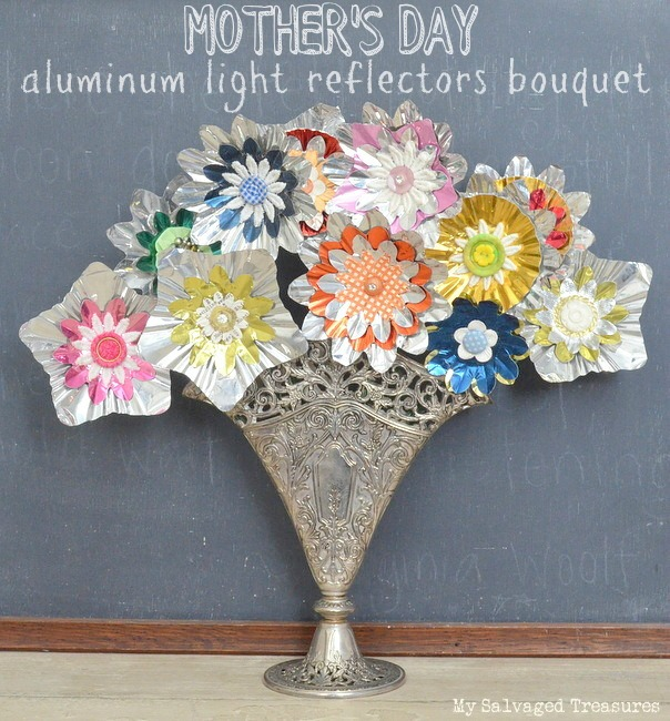 upcycled aluminum Christmas tree light reflector flowers