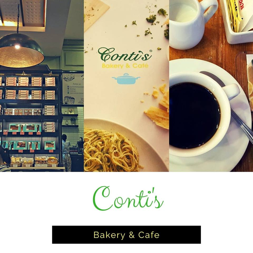 An image of Conti's Bakery & Cafe store and a cup of coffee