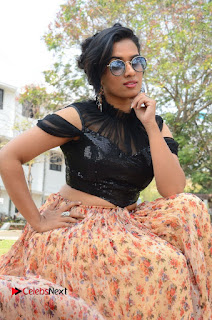 Actress Chetana Uttej Stills in Floral Long Skirt at Pichiga Nachav Movie Press Meet  0063.JPG