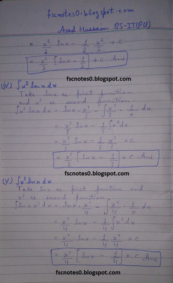 FSc ICS Notes Math Part 2 Chapter 3 Integration Exercise 3.4 Question 1 Asad Hussain 2