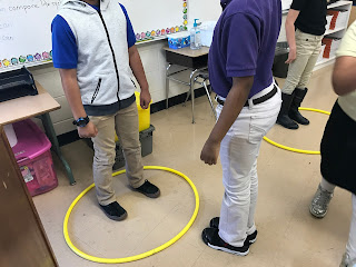 Students practicing personal space using hula hoops during our Personal Space Camp lesson plan activity.
