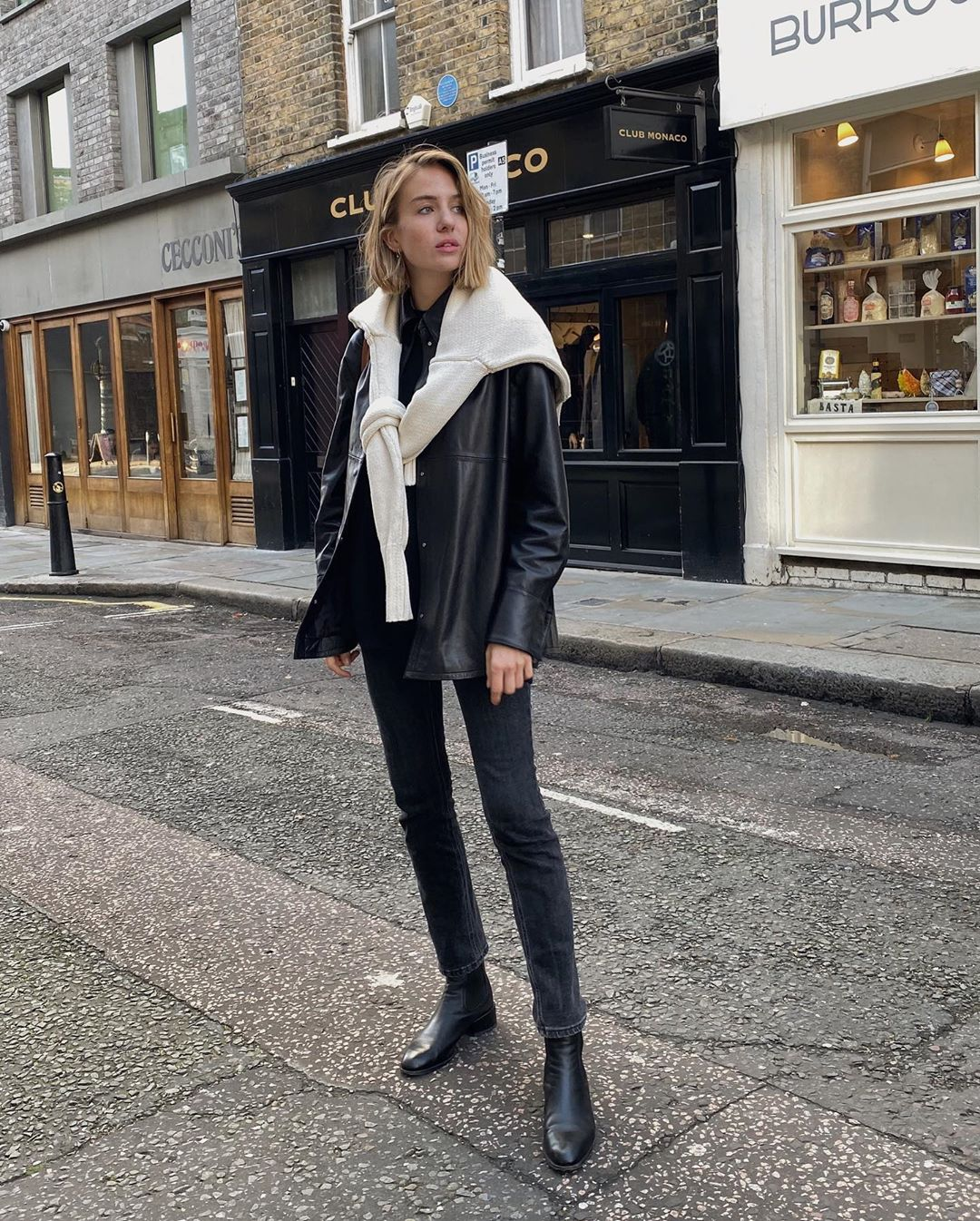 How a British Fashion Girl Wears a Leather Shirt Jacket — Lizzy Hadfield Style