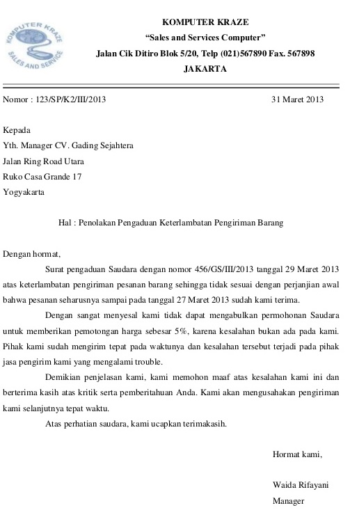 contoh surat penolakan pengaduan keterlambatan pengiriman