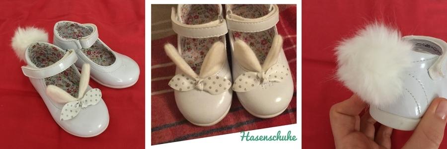 Kleine Weiße Schuhe mit Hasenohren und Bommel, selbst gemacht
