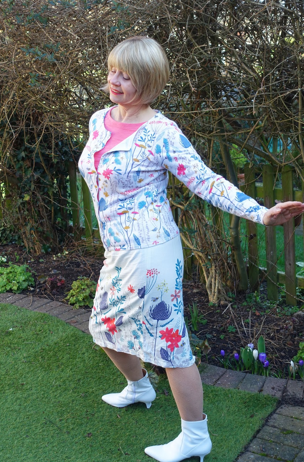 Is This Mutton? in Floral Meadow skirt and Kemble cardigan in Floral Meadow plus Monica top in coral from Lily and Me, spring summer 2019