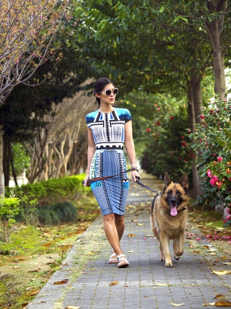 Euriental | fashion & luxury travel | German Shephard, Mary Katrantzou dress, Prada white sunglasses.