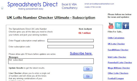 Excel & VBA Consultants - : Subscription Model Ultimate Lotto Checker Spreadsheets
