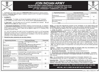Indian Army Recruitment 2016 - 30 Post For University Entry Scheme Pre- Final Year (PC) Vacancies | www.joinindianarmy.nic.in