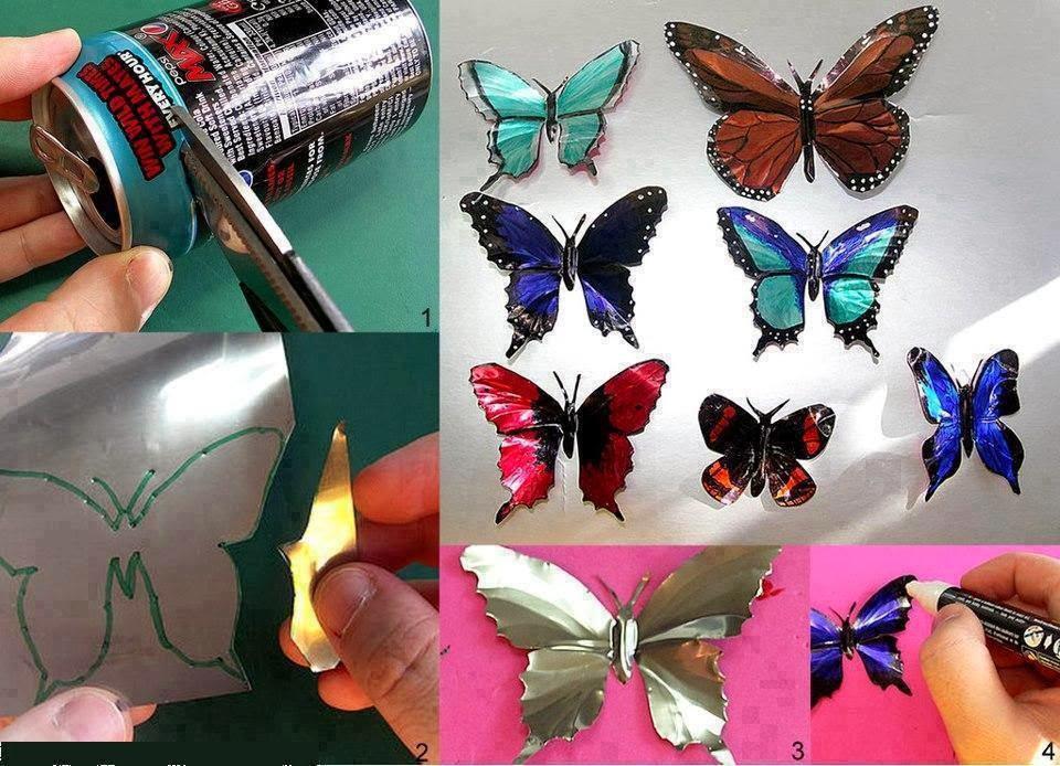 Mariposas hechas con una lata