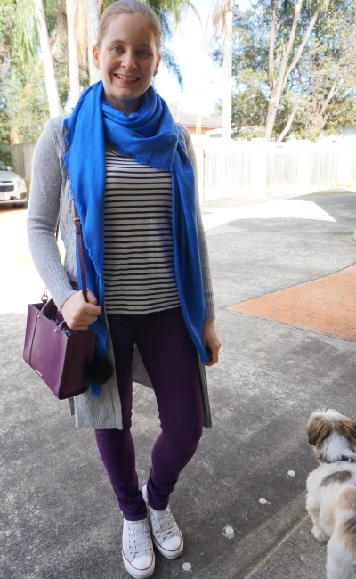 grey maxi cardigan with bleu louis vuitton shawl stripe tank purple jeans | away from blue