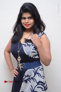 Telugu Actress Alekhya Stills in Blue Long Dress at Plus One ( 1) Audio Launch  0080.jpg