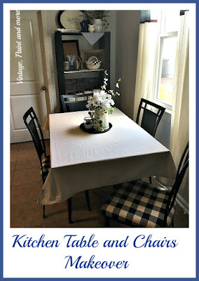 Vintage Paint and more... a thrift store table and chairs are made over with some black chalk paint and black and cream buffalo plaid fabric