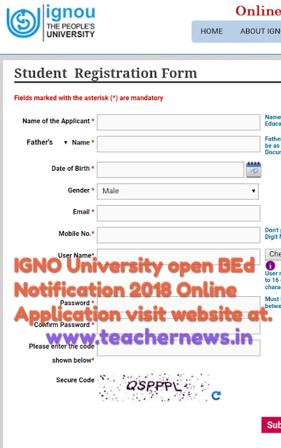 IGNO University open BEd Notification 2018 Online Application