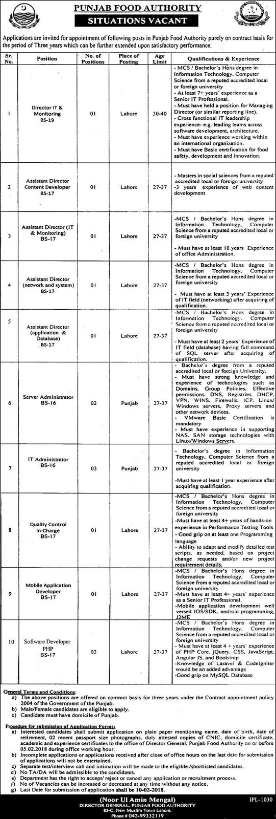 Punjab Food Authority Jobs 2018 for Male Female in Lahore