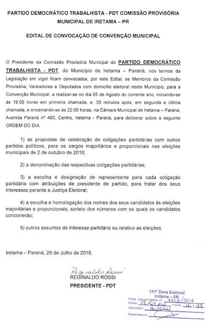 Iretama: PDT, PPS, PSB, PSC e PSDB publicam editais de suas convenções municipais