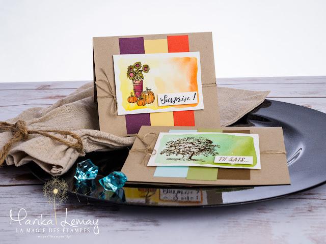 deux cartes avec le même sketch Lovely as a tree et Saisons colorées