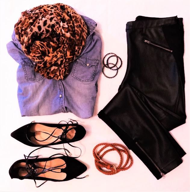 calça de couro preta, camisa jeans e sapatilhas