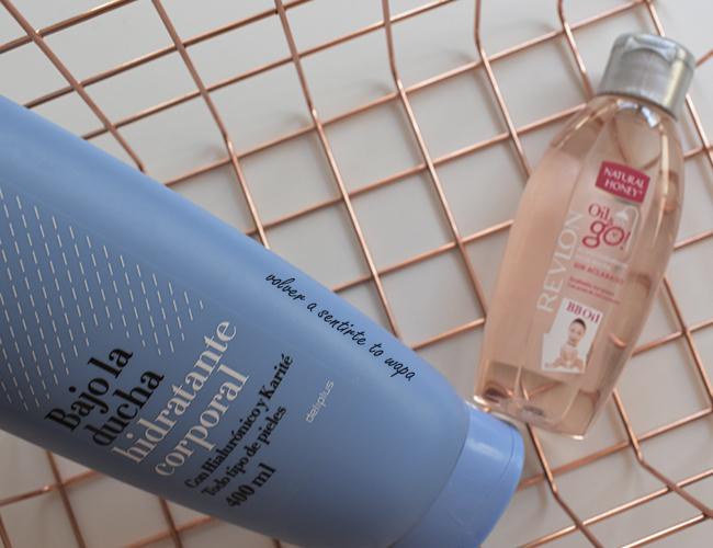 Hidratante corporal bajo la ducha de Mercadona y Aceite Oil&Go de Revlon