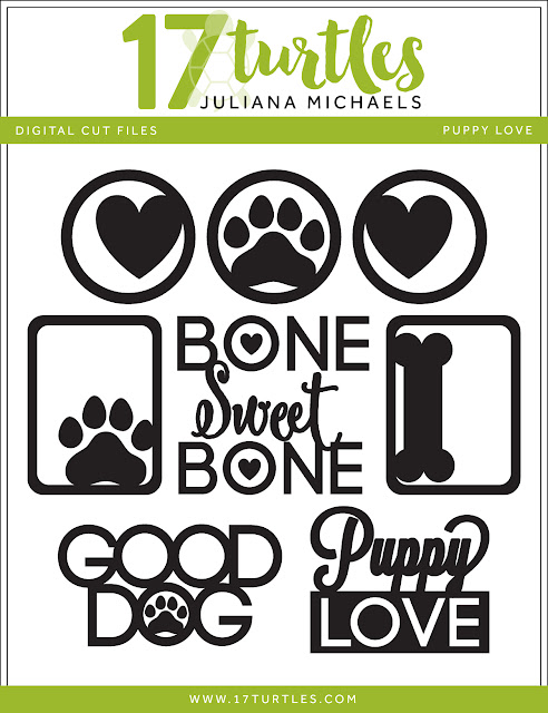 Puppy Love Free Digital Cut File by Juliana Michaels 17turtles.com