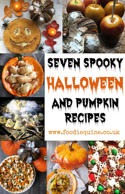 www.foodiequine.co.uk Seven Spooky Halloween and Pumpkin Recipes. Pumpkin Pasties, Peanut Butter Ghosts, Traditional Toffee Apples, Pumpkin & Goat Cheese Tart, Pumpkin, Cauliflower & Chickpea Korma, Spooky Chocolate Candy Bark, Jack Skellington Pumpkin King Quesadillas.