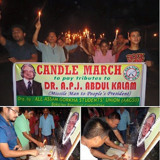 All assam gorkha students union Candle march to pay tributes to dr. Apj abdul kalam