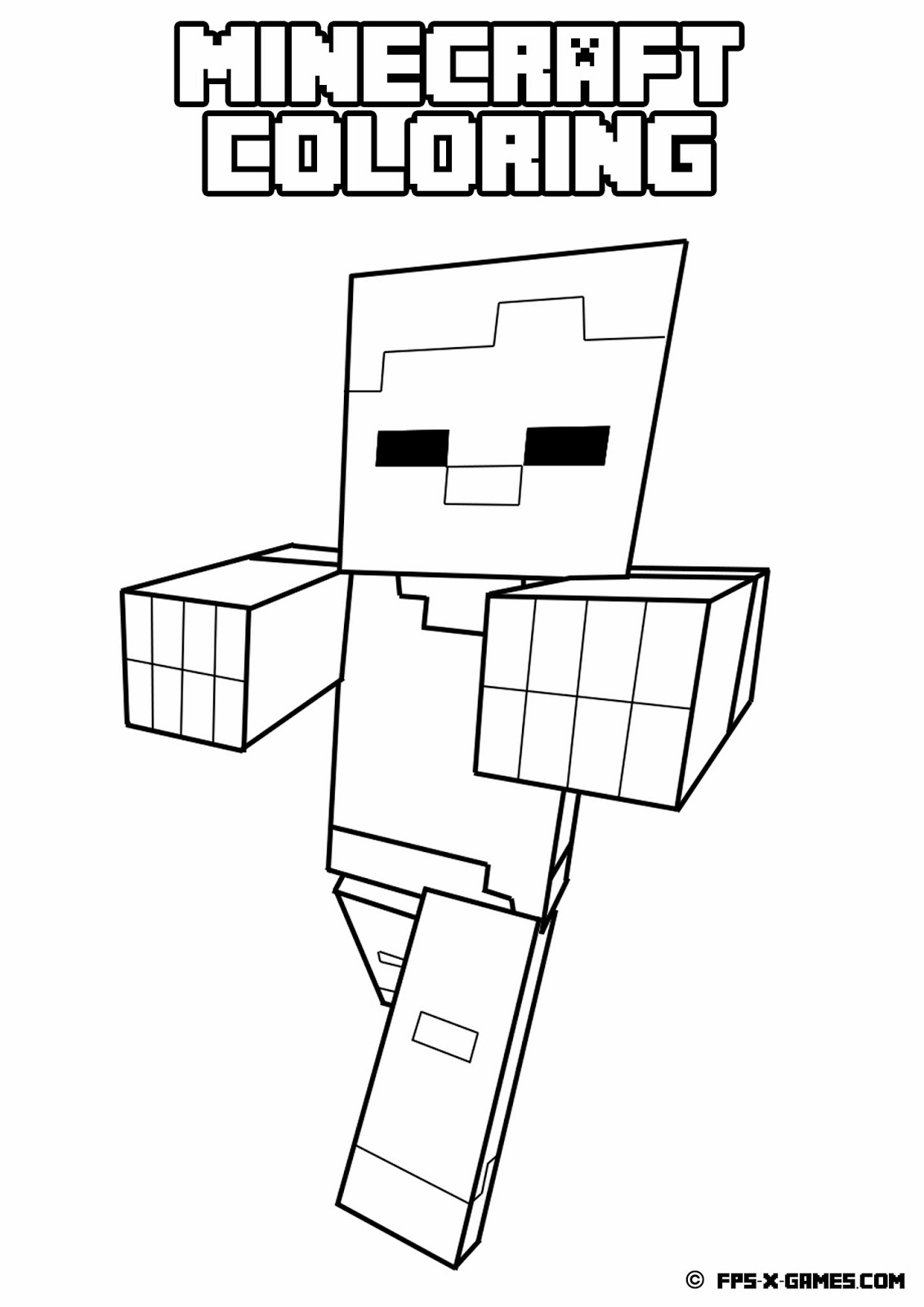 Printable minecraft coloring zombie for Minecraft animal coloring pages