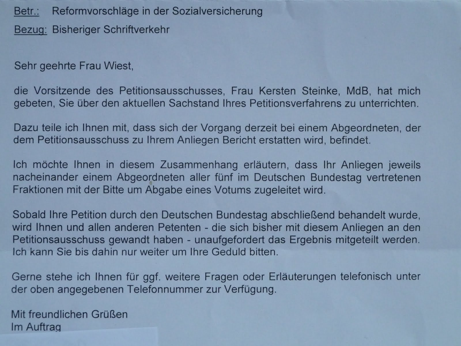 Brief vom Petitionsausschuss