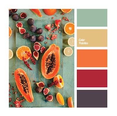 Цветовая палитра баклажанный, ягодный, оранжевый, голубой