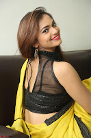 Cute Actress Ashwini in Yellow Saree Exclusive  034.JPG