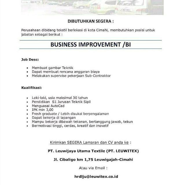 Lowongan Kerja PT. LEUWITEX Cimahi