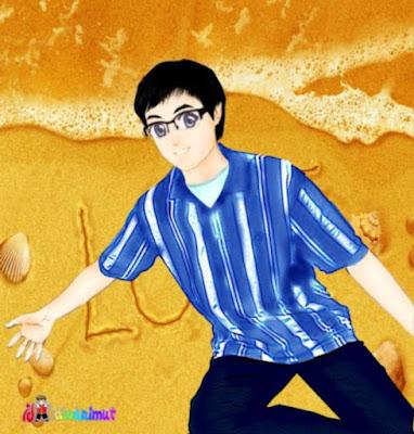 kartun muslim laki-laki soleh berkacamata