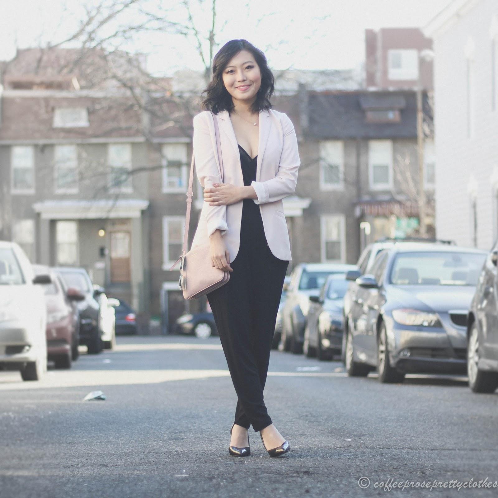ASOS black jumpsuit, Kate Spade Madelyne, blush blazer H&M, Zara heels