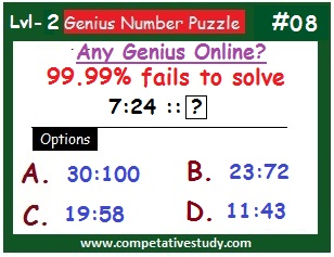 Number Puzzle: Find the missing number: 7:24 :: ?