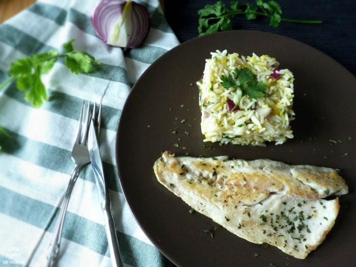 Lubina con arroz basmati, cilantro