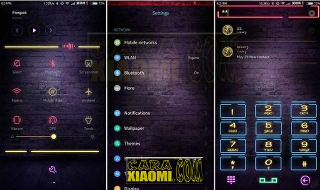 Download MIUI Theme Fluorescent Fire Neon Thema For Xiaomi Redmi V8 Terbaru