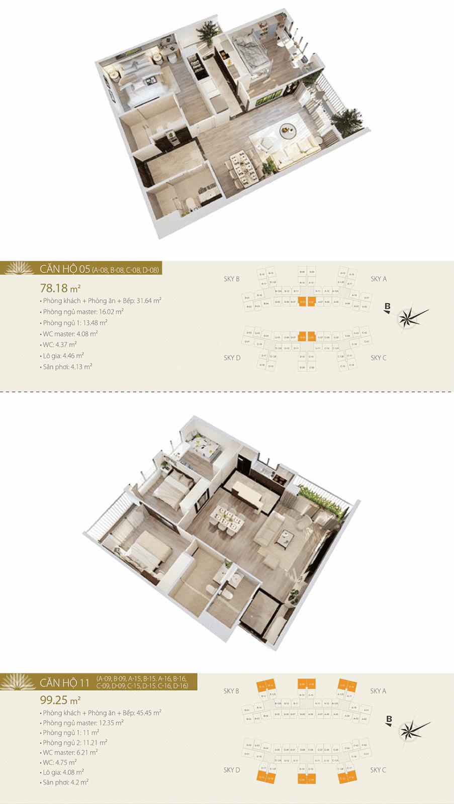 Mặt bằng chi tiết căn hộ 05 và 11 - Imperia Sky Garden