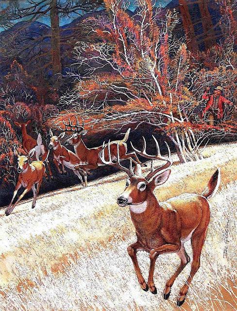 a Denver Gillen illustration of wild deer scattering in an Autumn landscape