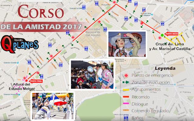 Recorrido del Corso Arequipa 2017