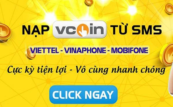 Nạp Vcoin tiện lợi nhanh chóng qua tin nhắn điện thoại