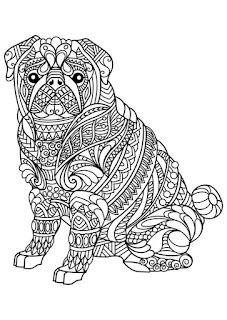 דפי צביעה למבוגרים - כלבים