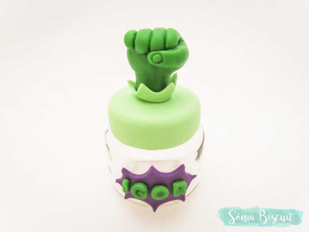 Potinho, Lembrancinha, Lembrança, Biscuit, Hulk, Incrivel Hulk, Vingadores, Sonia Biscuit