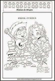 Desenho festa junina para colorir