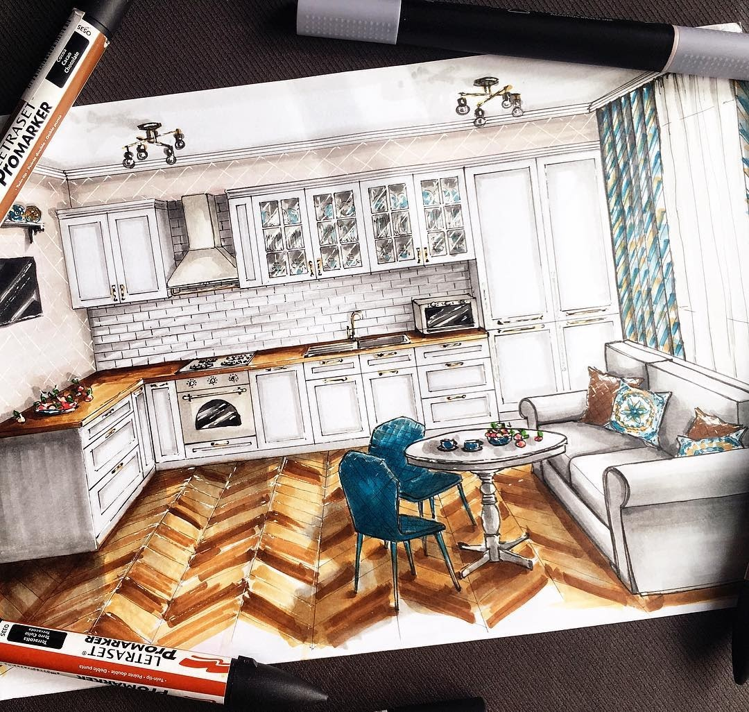 05-Kitchen-and-Breakfast-Area-Natalia-Pristenskaya-Дизайнер-интерьеров-Interior-Design-Sketches-www-designstack-co